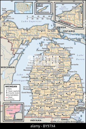Map Maps USA Middle West Canada Stock Photo Royalty Free Image - Indiana political map