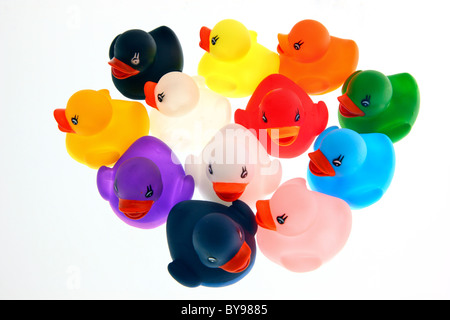 Bath toys, different colorful figures for kids to play with in a pool or bath tub. Wind-up figures, mechanic. - Stock Photo
