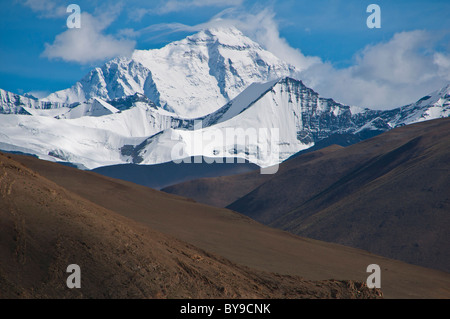 Mount Everest, the highest mountain in the world, Tibet, Central Asia - Stock Photo