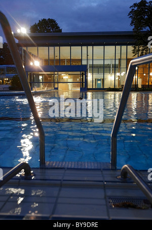 Cold bathing hall and outdoor pools of Leuze Mineral Spa Bath in Stuttgart, Baden-Wuerttemberg, Germany, Europe - Stock Photo