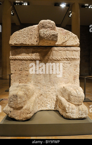 Antique stone sarcophagus of King Ahiram from Byblos, National Museum, Beirut, Beyrouth, Lebanon, Middle East, West - Stock Photo