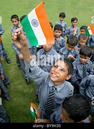 School boys celebrating Independence Day - Stock Photo