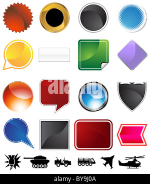 Military variety set isolated on a white background. - Stock Photo