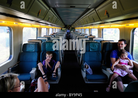 interior of a via rail car on the ottawa to montreal line. Black Bedroom Furniture Sets. Home Design Ideas
