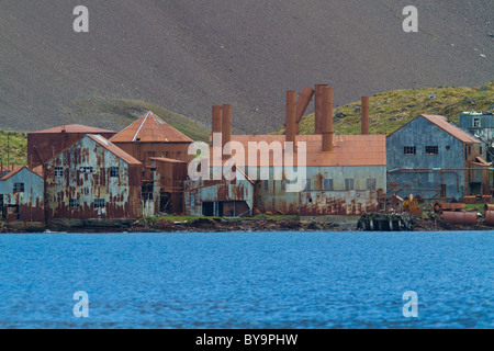 Remains of Leith Whaling Station, South Georgia - Stock Photo