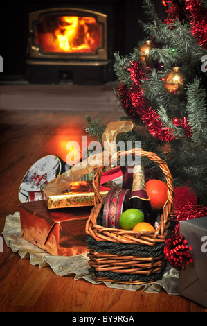 christmaas gifts under christmas tree - Stock Photo
