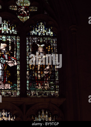 Canterbury Kent England Canterbury Cathedral Chapter House Stained Glass Window Depicting Saint Anselm - Stock Photo