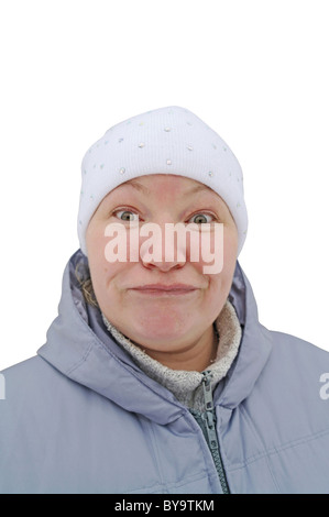 Surprise, delight and desire on a woman's face, is isolated, a white background, winter in Moscow Region, Russia - Stock Photo