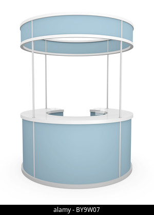 Blue trade stand isolated on a white background. 3D rendered illustration - Stock Photo