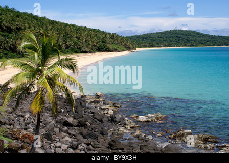 Pristine white sand Caribbean beach on Big Corn Island or Great Corn Island, Nicaragua, Central America - Stock Photo