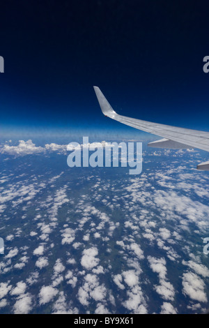 View from aircraft at the edge of the stratosphere - Stock Photo