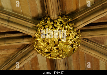 Ceiling boss in St. Chad`s Head Chapel, Lichfield Cathedral, Staffordshire, England, UK - Stock Photo