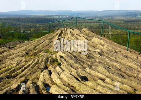 Outcrop of horizontal columnar basalt, geotope Hirtstein, Erzgebirge Ore Mountains, Saxony, Germany - Stock Photo