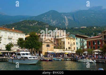 Port of Malcesine on Lake Garda, Veneto region, Italy, Europe - Stock Photo
