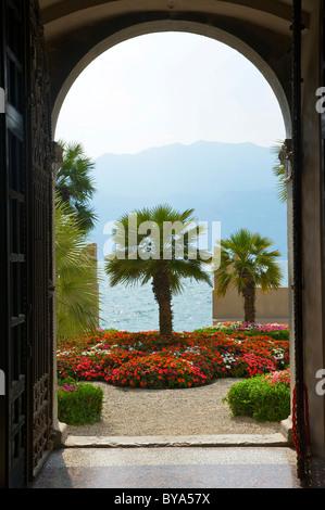 Garden of the Palazzo dei Capitani in Malcesine on Lake Garda, Veneto, Italy, Europe - Stock Photo