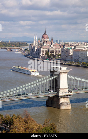 Chain Bridge and Hungarian parliament with the Danube river in Budapest, Hungary, Europe - Stock Photo
