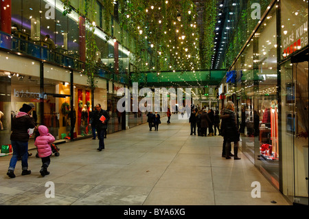 Christmas decorations in Fuenf Hoefe shopping centre, Munich, Upper Bavaria, Germany, Europe - Stock Photo