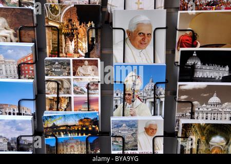 Postcards with Pope Benedict XVI, the Vatican and Roman motifs, Rome, Lazio, Italy, Europe - Stock Photo