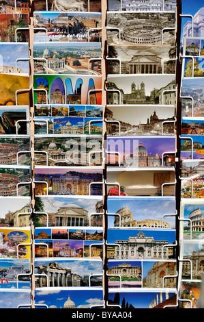 Postcards with Roman motifs, Rome, Lazio, Italy, Europe - Stock Photo