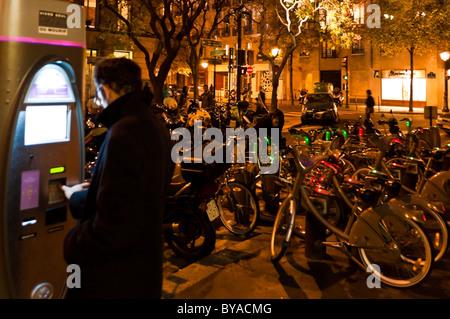 Velib, bikes station, in the area of the Marais, Paris, France - Stock Photo
