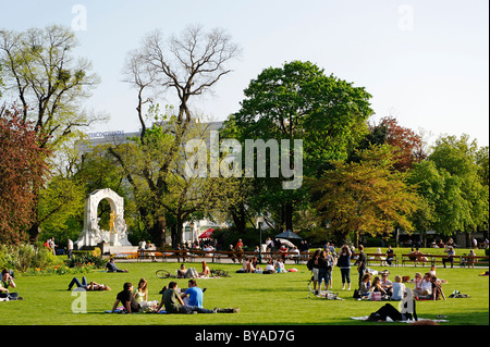 Johann Strauss Monument in Vienna City Park, 1st District, Vienna, Austria, Europe - Stock Photo