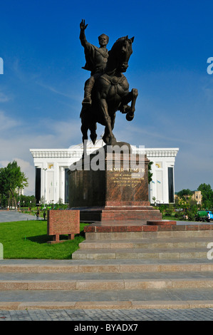 Amir Timur, Temur, Tamerlane Monument, statue at Amir Temur Square in Tashkent, Uzbekistan, Central Asia - Stock Photo