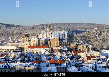 View over the historic town centre of Sigmaringen with the former royal palace residence and administrative seat - Stock Photo