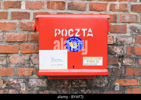 Postbox, letterbox, Zamek Krolewski na Wawelu, Wawel Royal Castle, historic district, Krakow, Cracow, Malopolska - Stock Photo