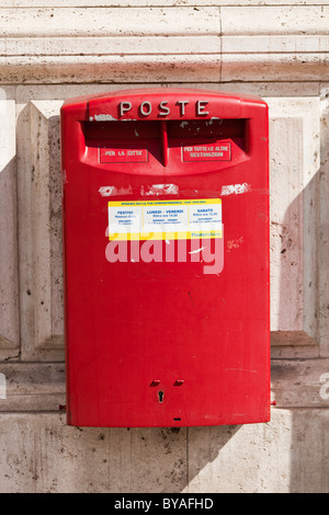 Red letter box, Tuscany, Italy, Europe - Stock Photo