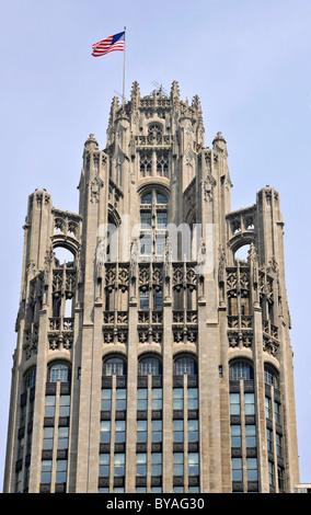 Tribune Tower, Chicago, Illinois, United States of America, USA - Stock Photo