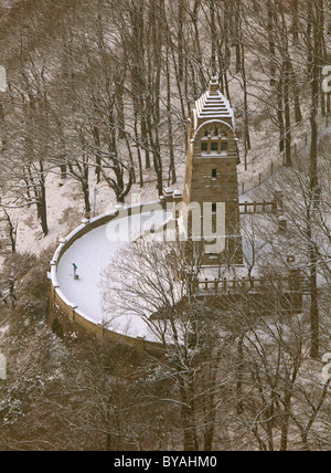 Aerial view, Berger memorial covered in snow, Hohenstein, Stadtpark, city park, observation tower, Ruhr river valley, - Stock Photo