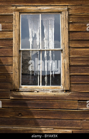Tattered curtains in a window - Stock Photo