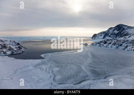 Aeriel view of sea ice, Kulusuk, E. Greenland - Stock Photo