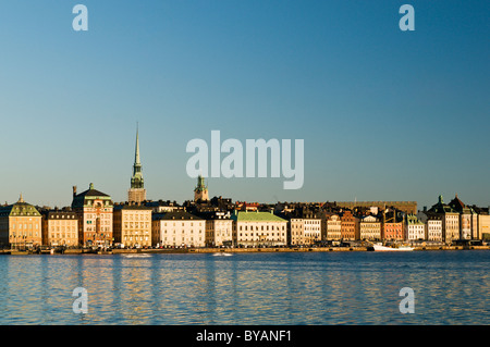 Panorama of Gamla Stan in Stockholm at sunrise from Södermalm, Sweden - Stock Photo