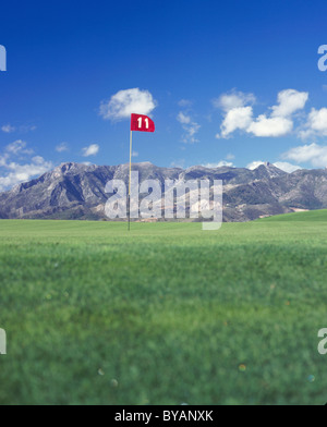 Golf Tee, Spain with mountain background - Stock Photo