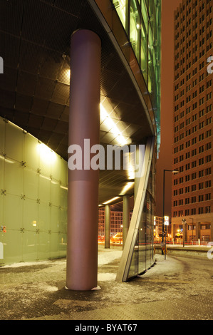 DB Tower and Kollhoff-Tower in the back, Potsdamer Platz, Berlin, Germany, Europe - Stock Photo