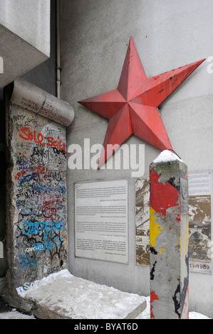 Original GDR border posts at the Mauermuseum Berlin Wall Museum, Checkpoint Charlie, Friedrichstrasse, Berlin, Germany, - Stock Photo