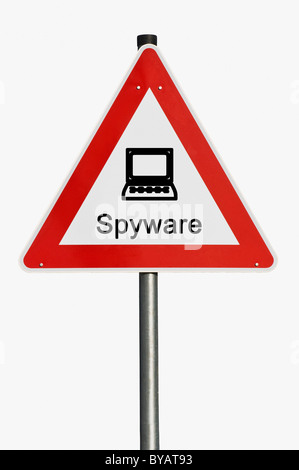 Danger sign with a laptop, computer, spyware - Stock Photo