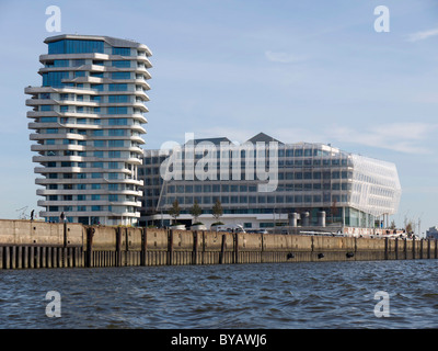 Marco-Polo-Tower and Unilever Zentrale headquarters, Strandkai, Hafencity district, Hanseatic City of Hamburg, Germany, - Stock Photo