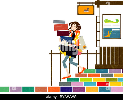 Illustration of a woman walking down stairs with a stack of falling boxes - Stock Photo
