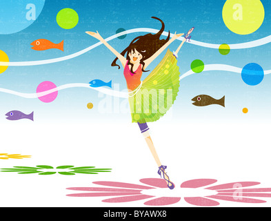 Illustration of a young woman ballet dancing - Stock Photo