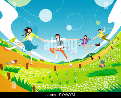 Illustration of four people holding hands skipping down a path - Stock Photo