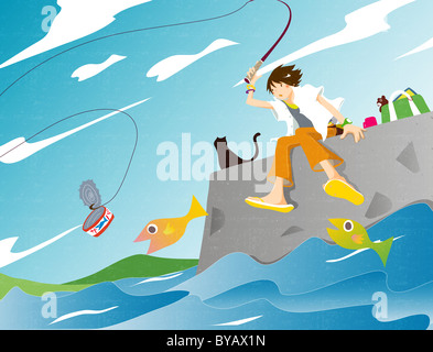 Illustration of a woman fishing catching an old can - Stock Photo