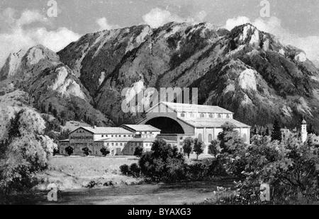 House of the Passion Play, black and white postcard, Passion Play Oberammergau 1934, Upper Bavaria, Germany, Europe - Stock Photo