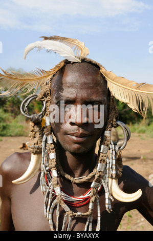Man from the Mursi tribe, Mago National Park, southern Omo valley, southern Ethiopia, Ethiopia, Africa - Stock Photo
