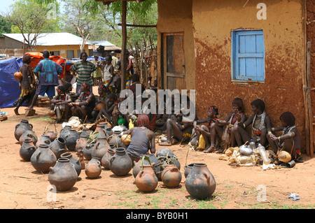 Hamar market, Dimeka, southern Omo valley, southern Ethiopia, Ethiopia, Africa - Stock Photo