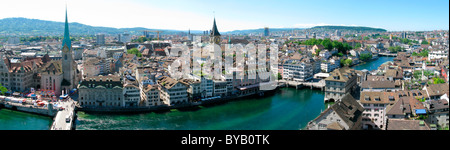 Panoramic view of Zurich on the Limmat river, Zurich, Switzerland, Europe - Stock Photo