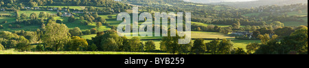 Panoramic view of Cotswold rolling hills, Gloucestershire, UK - Stock Photo