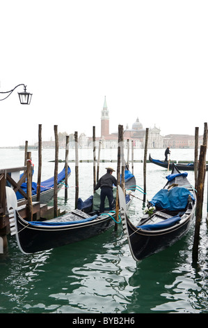 Gondolas near Piazza San Marco square, Venice, Italy, Europe - Stock Photo