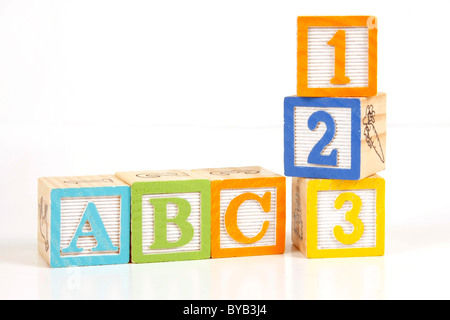 Childrens colorful blocks say abc and 123. - Stock Photo